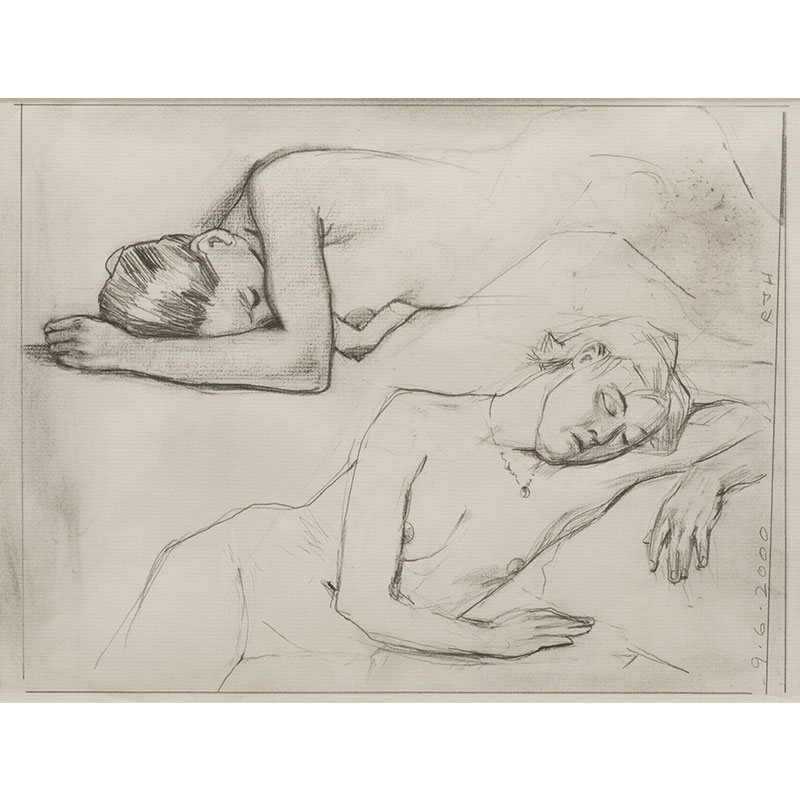 "Diana IV , 2000 graphite on paper 9.5 x 12"" paper 16.5 x 20.5 framed  Inquire >"