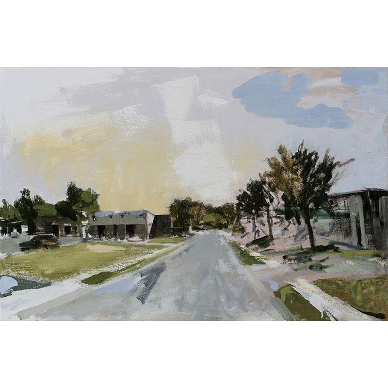 "Ferguson (8-9-14) , 2016 oil on canvas 23.25 x 35.25""  Inquire >"