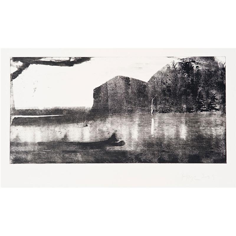 "Oakland Suite: Wild Beauty 3 , 2009 monoprint 15 x 22.5"" paper 8.5 x 17.5"" image  Inquire >"