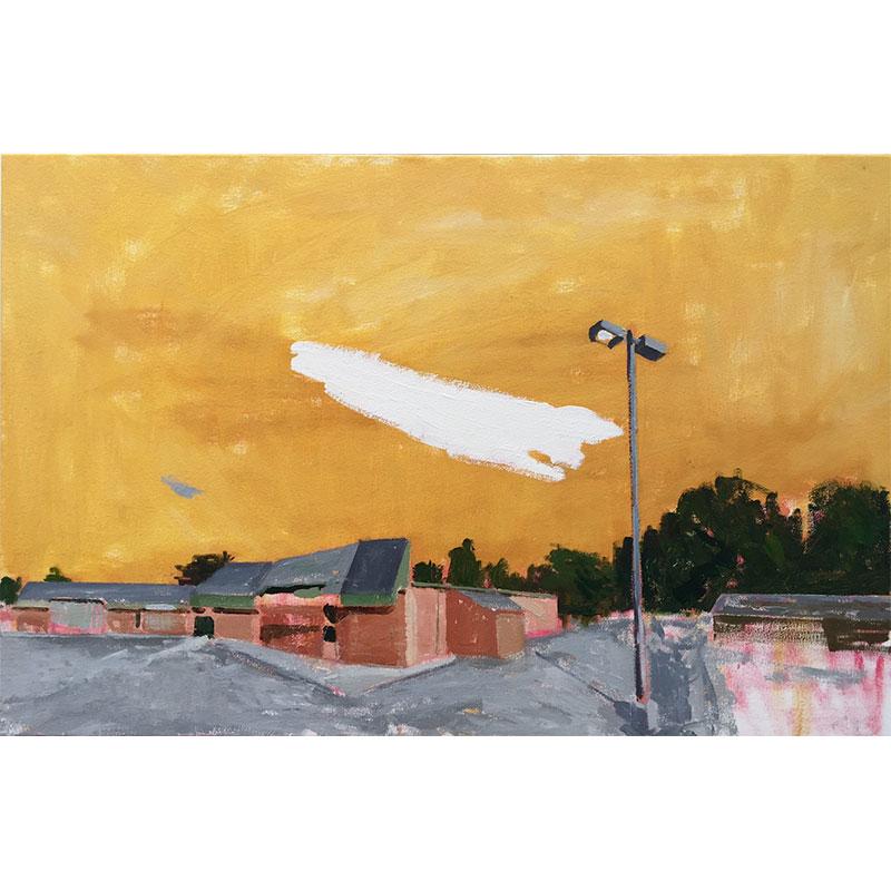 "Olathe, KS (2-22-17) , 2017 oil on canvas 23 x 35""  Inquire >"
