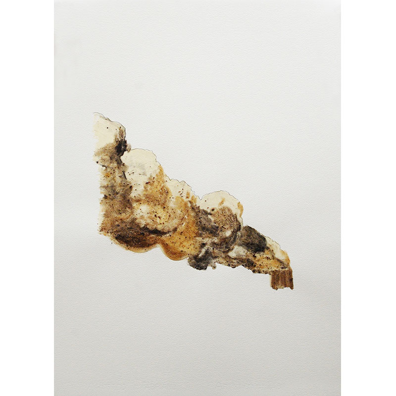 "Hack #3 , 2009 cigarette ash, graphite, and acrylic 30.25 x 22"" paper  Inquire >"