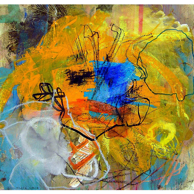 """Blue Space , 2008 hand-worked monoprint 12 x 12""""  Inquire >"""