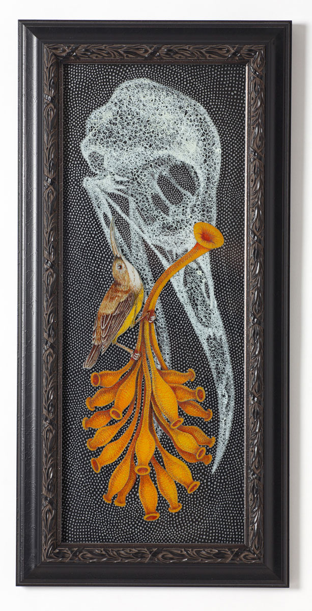 """Continuum, or Two Sides to the Question (Spider Hunter) , 2011 glass and vitreous enamel 23.25 x 11.25"""" framed"""