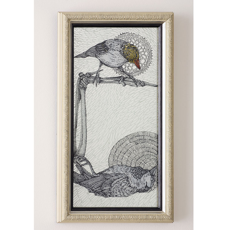 """Contemplation (Finch) , 2011 glass, vitreous enamel, and silver leaf 12 x 7"""" framed  Inquire >"""