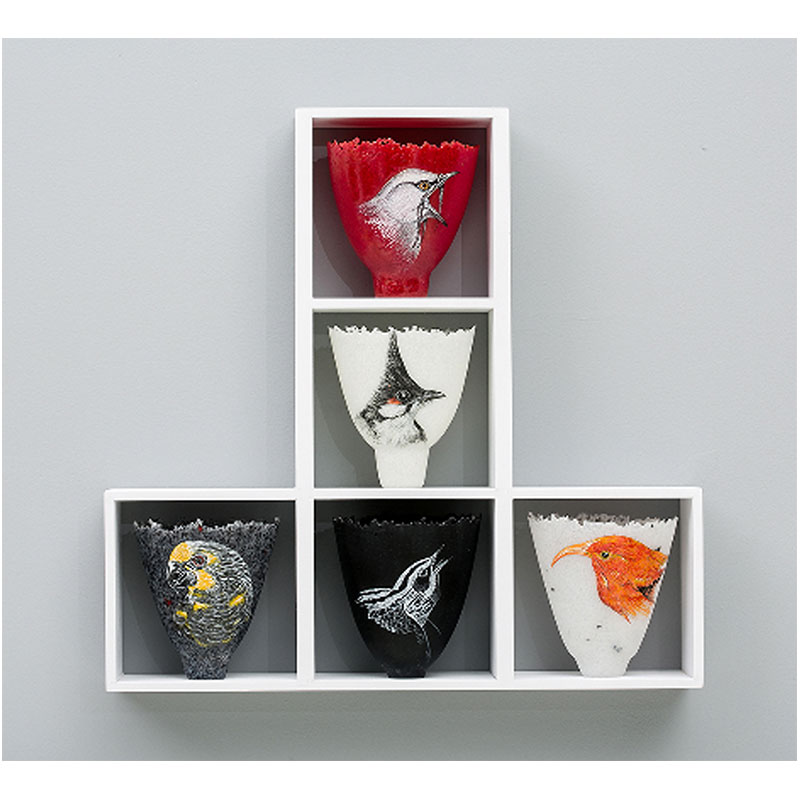"""Glorious Passerines , 2012 glass, vitreous enamel and wood 18 x 18 x 3""""  Inquire >"""