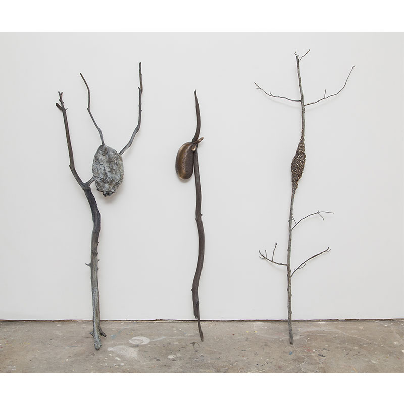 "Three Sisters: Nest, Flee, Swarm , 2016 bronze 60 x 60 x 13"" 60 x 18 x 11"" nest 53 x 6.5 x 5"" flee 61 x 21 x 13"" swarm  Inquire >"