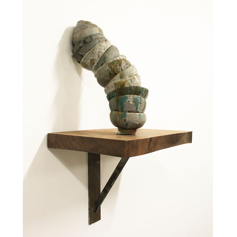 "Untitled (perpetually collapsing) , 2016 ceramic with wood and metal shelf  33 x 29 x 13.5"" SOLD"