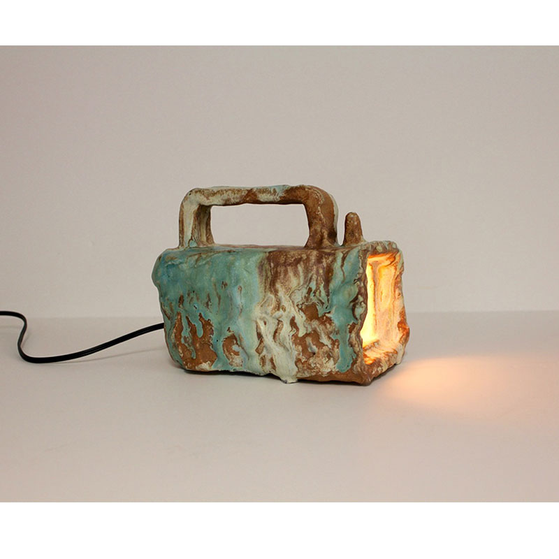 "Flashlight (beam of memory #1) , 2016 ceramic, lighting hardware 6 x 4.75 x 8""  Inquire >"