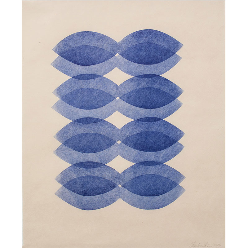 """Blues , 2016 woodcut on Kitakata paper 20.5 x 16.5"""" paper 23 x 19.5"""" framed  Inquire >"""