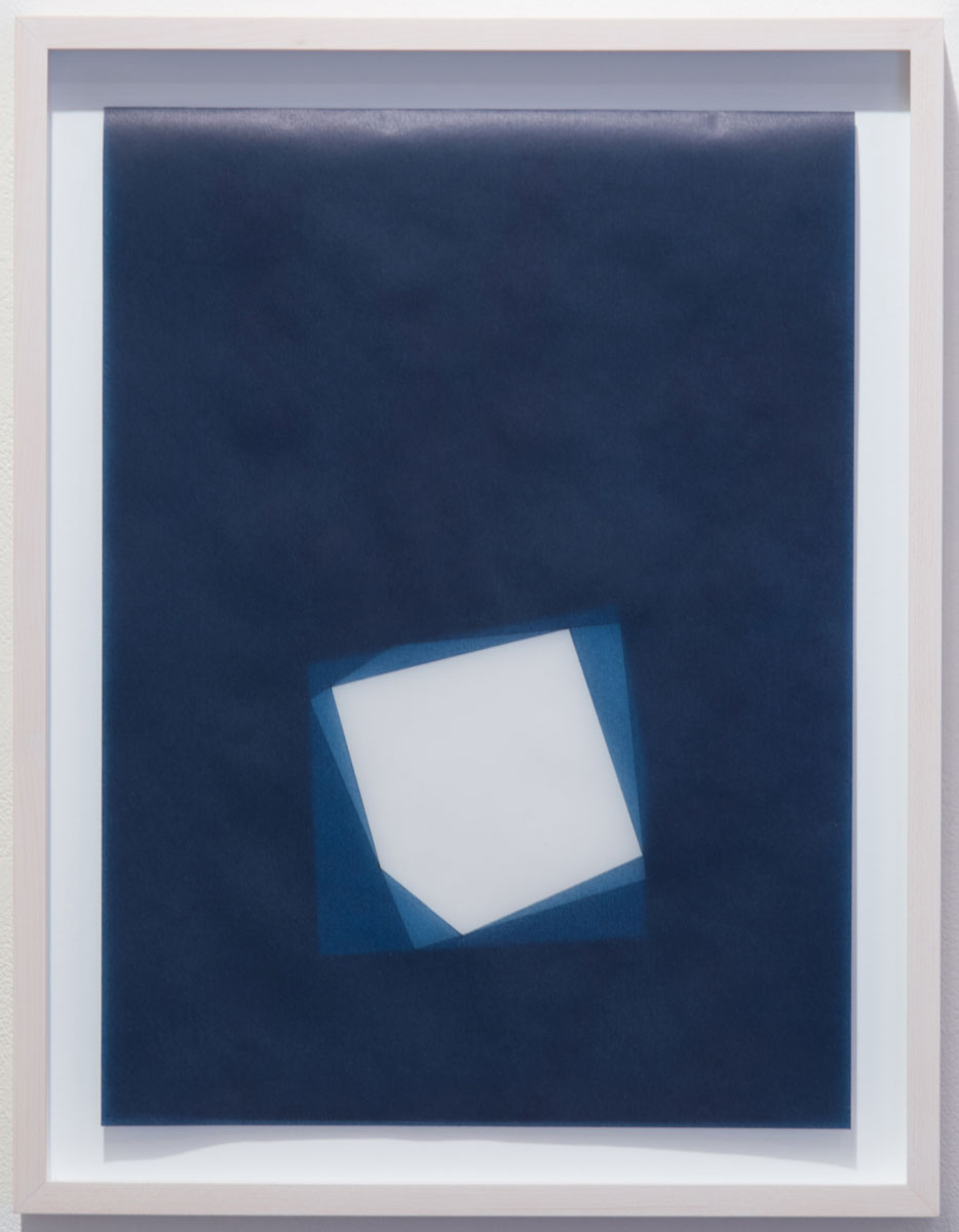 "Untitled, 2016-0818 , 2016 indigo pigment in wax on paper 16 x 12"" paper 18.5 x 14.5"" framed"