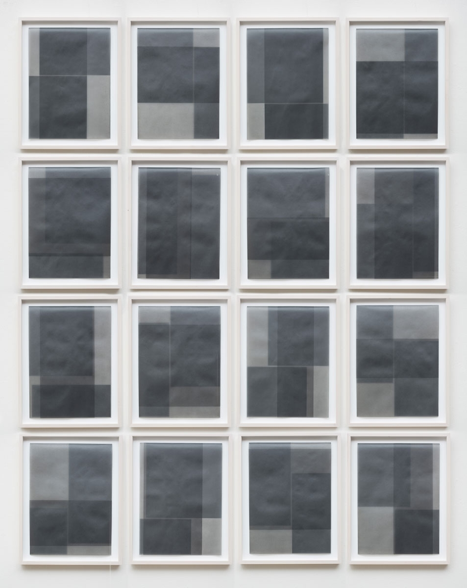 "Untitled, 2014-1205/1220 , 2014 suite of 16: graphite pigment in wax on paper 18.5 x 14.5"" framed each 80 x 64"" overall"