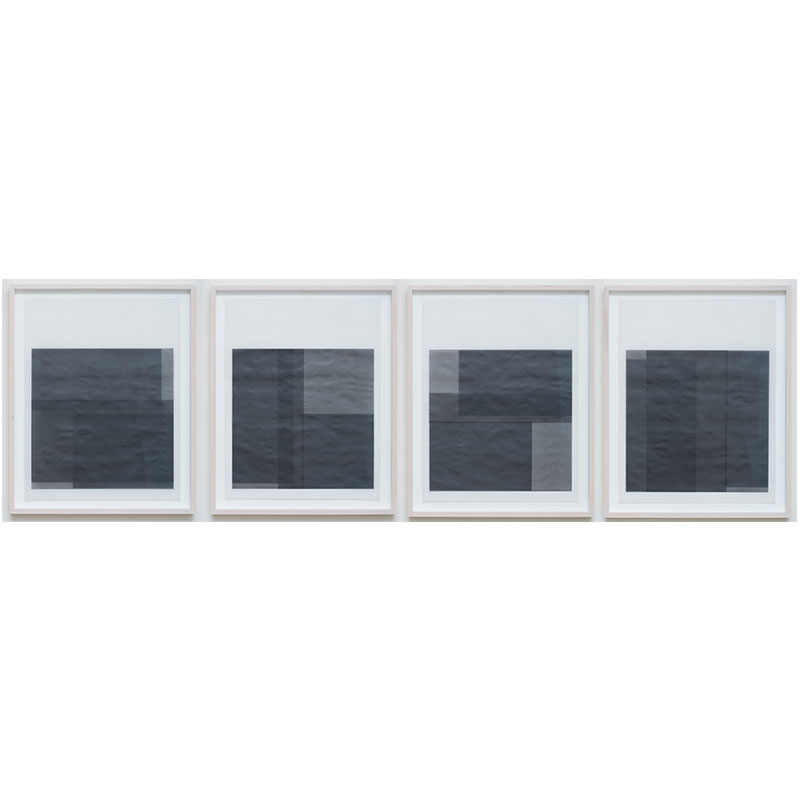 "Untitled, 2014-0501/0504 , 2014 suite of 4: graphite pigment in wax on paper 26.5 x 21.5"" framed each  Inquire >"
