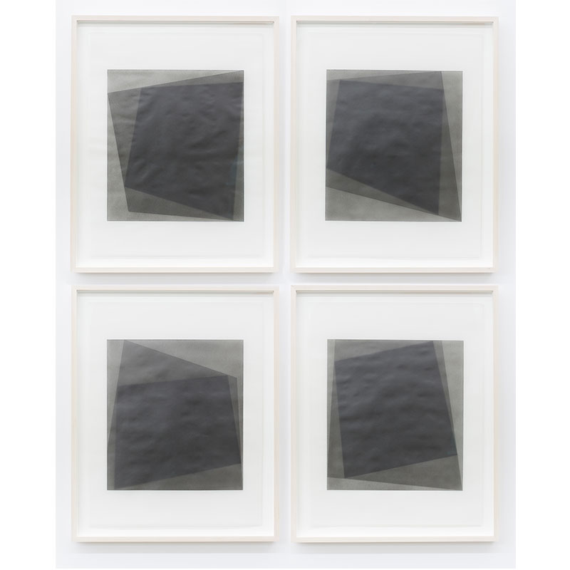 "Untitled, 2016 - 0109 / 0112  , 2016 suite of 4: graphite pigment in wax on paper 26.5 x 21.5"" framed each  Inquire >"