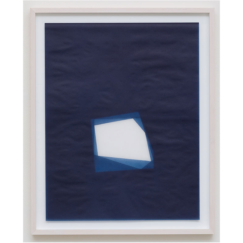 "Untitled, 2016-0813 , 2016 indigo pigment in wax on paper 26.5 x 21.5"" framed  Inquire >"