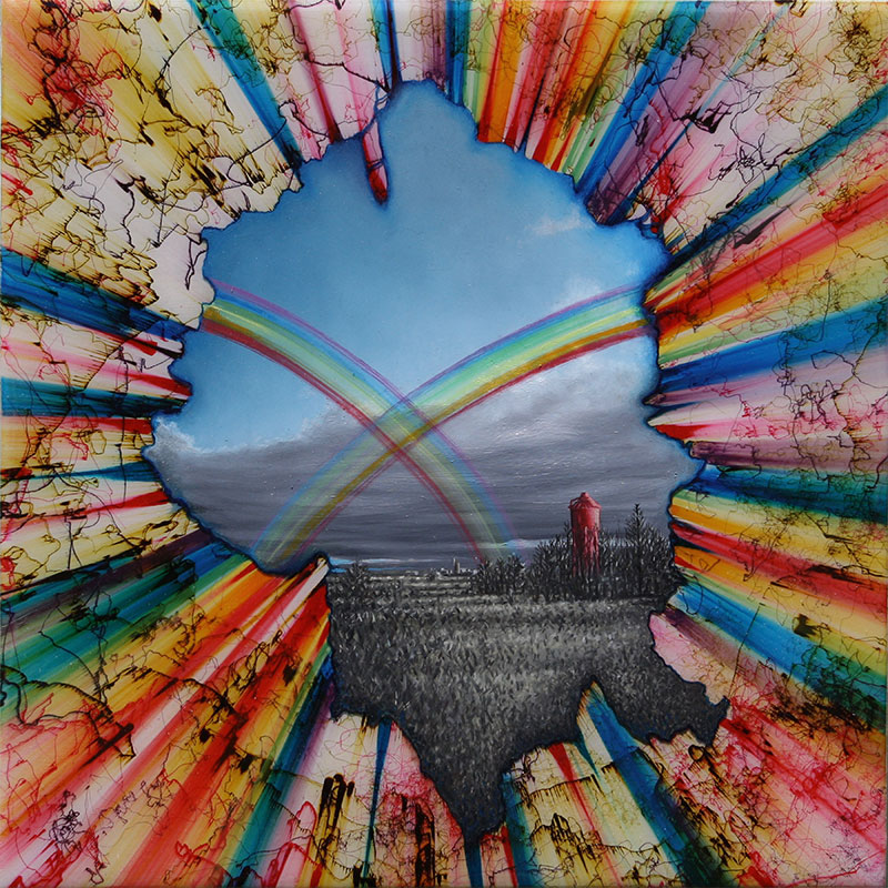 """Double Rainbow , 2013 ball point pen, oil and resin on panel 12 x 12""""  Inquire >"""
