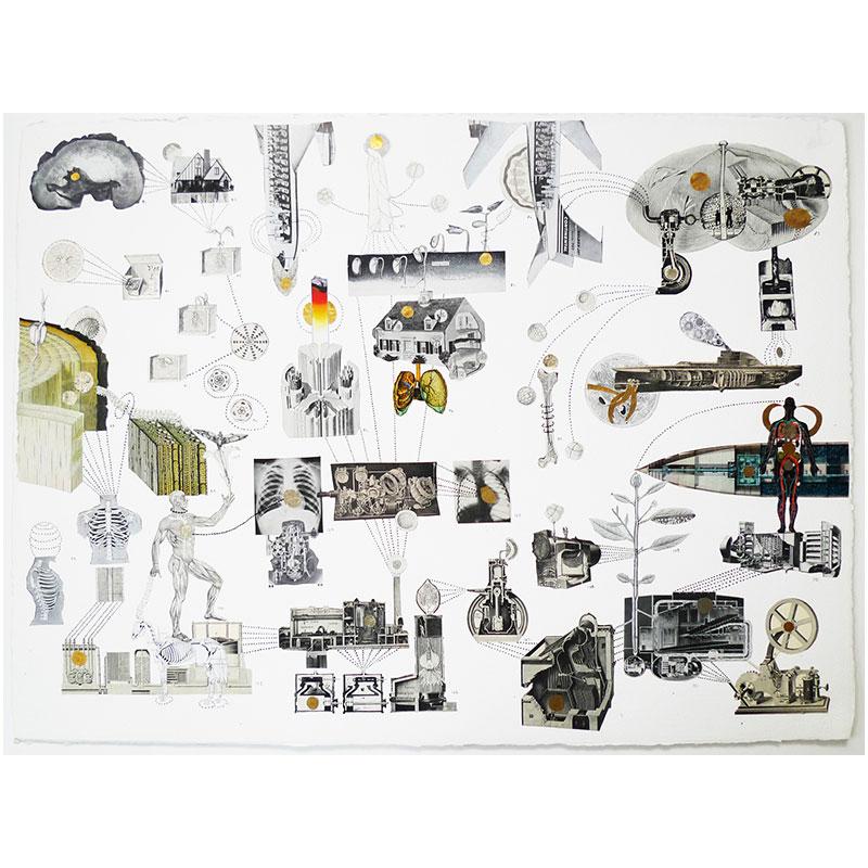 "Cutaway 2 , 2015 collage 26.5 x 34.5"" framed  Inquire >"
