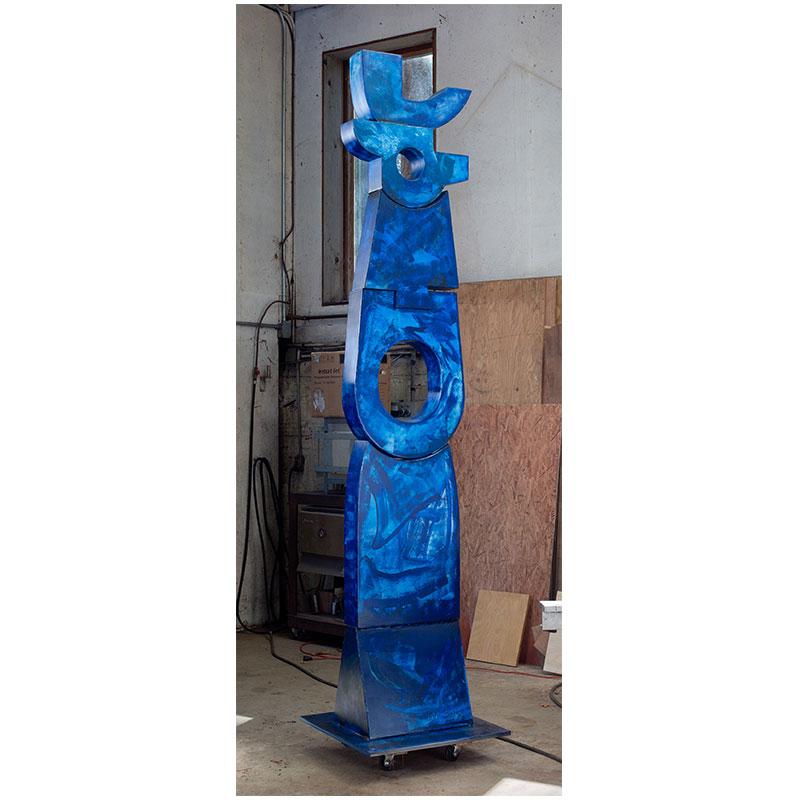 "Kumbu II , 2018 welded steel, oil and acrylic urethane paint 100 x 20.5 x 20.5""  Inquire >"