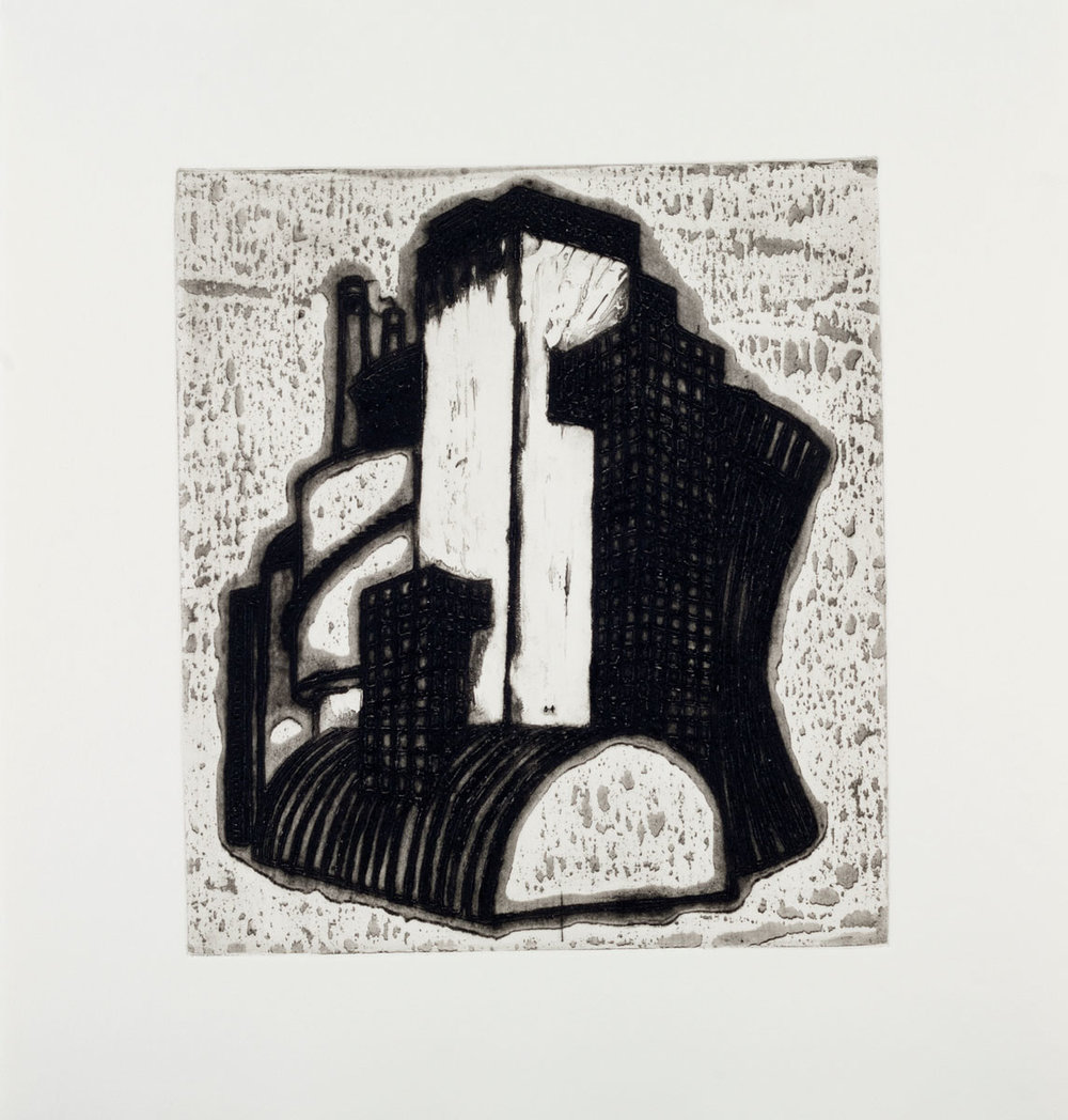 "Ideal Structures for a Dubious Future (Industrial Cluster) , 2012 explosive Intaglio 18.25 x 17.25"" framed Edition of 12"