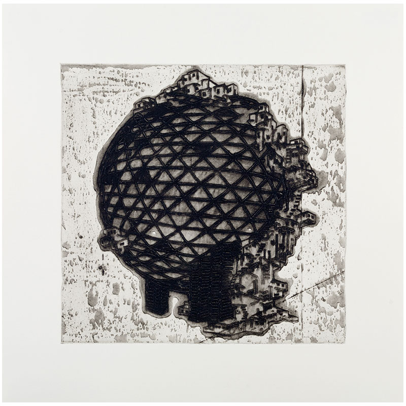 """Ideal Structures for a Dubious Future (Globe Sprawl) , 2012 explosive Intaglio 11.75 x 12"""" image 17 x 17"""" paper 19.25 x 19.25"""" framed Edition of 12  Inquire >"""