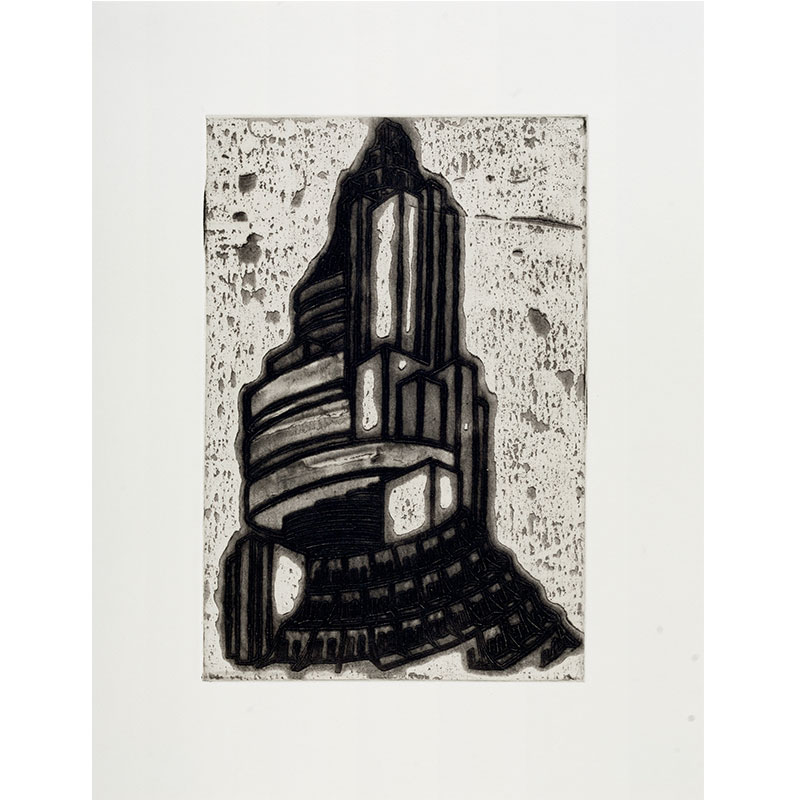 """Ideal Structures for a Dubious Future (Spiral Tower) , 2012 explosive Intaglio 11.75 x 8"""" image 16.75 x 12.75"""" paper 19 x 15.25"""" framed Edition of 12  Inquire >"""