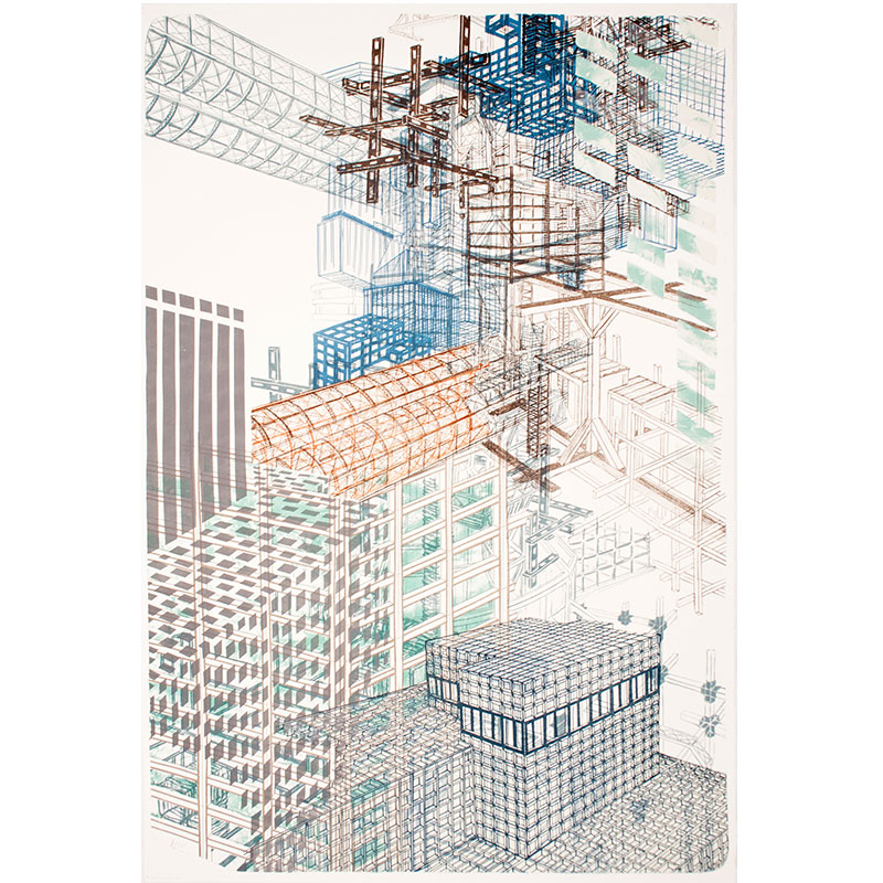 """Infrastructure #3 , 2012 9 color lithograph 43.75 x 29.5"""" paper 48.75 x 34.75"""" framed Edition of 12  Inquire >"""