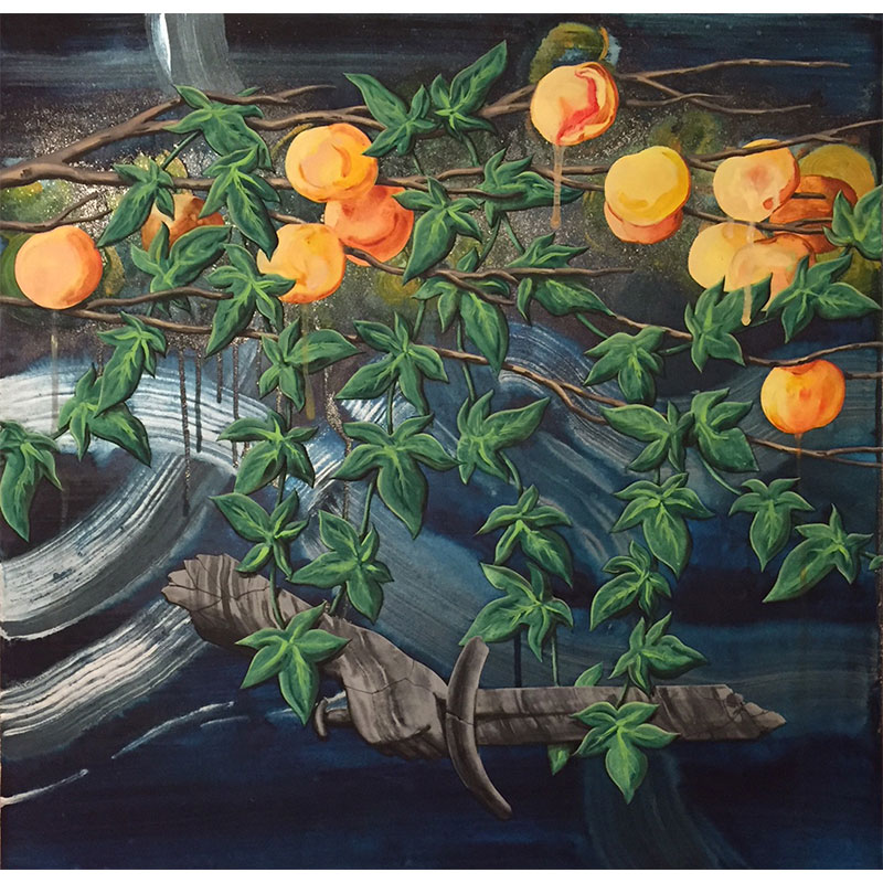 """Apricots , 2017 Flashe and spray paint on canvas over panel 24 x 24""""  Inquire >"""