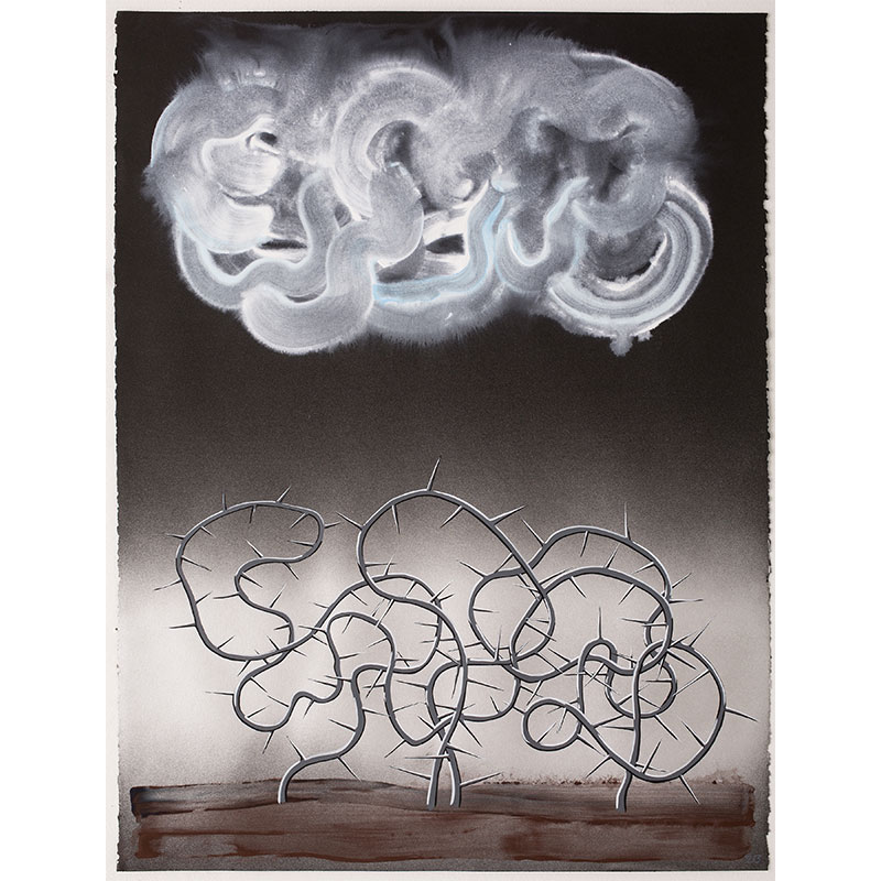 """Mimic , 2013 Flashe and spray paint on paper 30 x 22.75"""" image  Inquire >"""