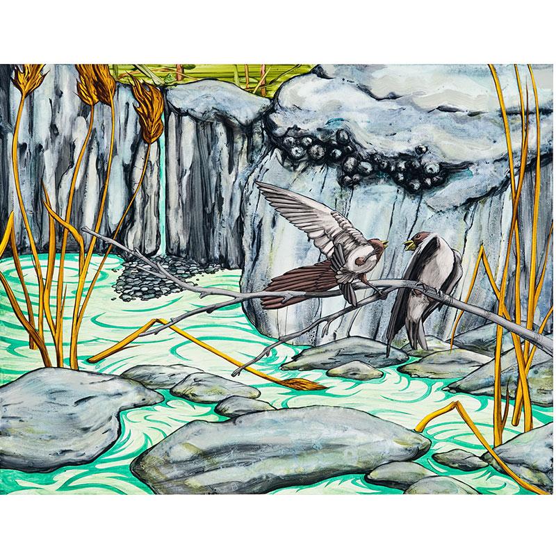"Nacimiento , 2009 acrylic on canvas over panel 21 x 27""  Inquire >"