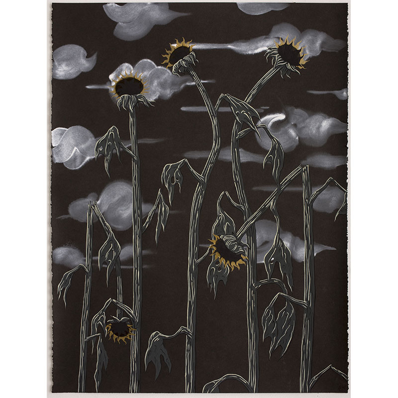 """Night Flowers , 2014 Flashe on paper 30 x 22.75"""" image  Inquire >"""