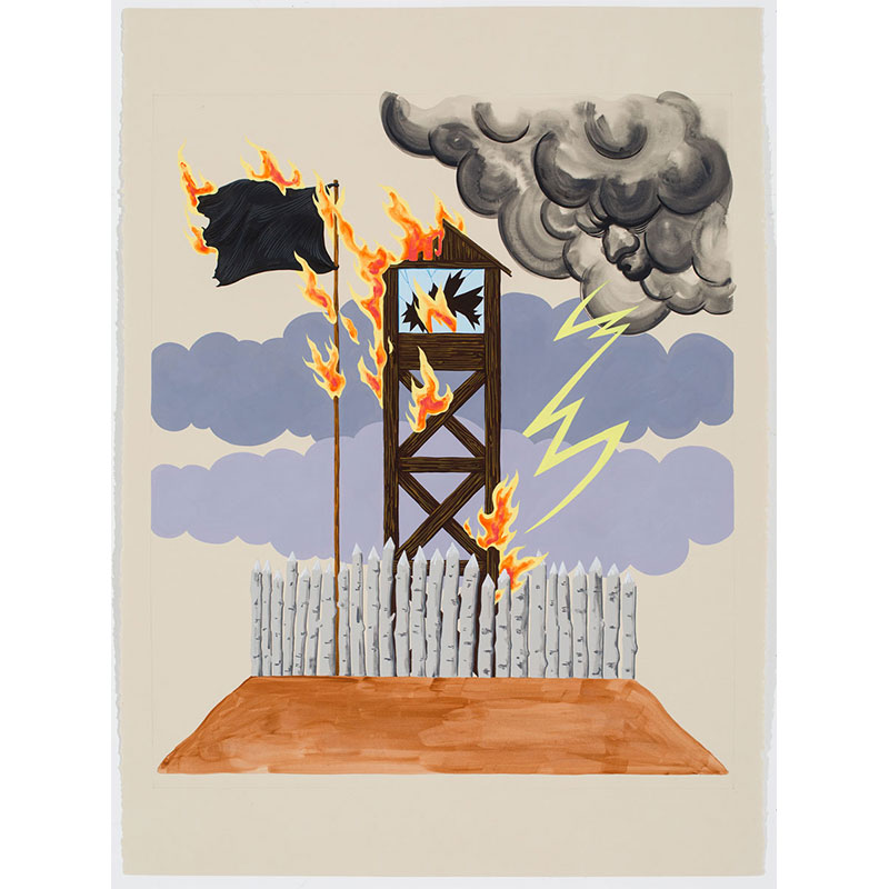 """The Seal of the Burning Tower , 2016 Flashe on paper 22 x 30"""" paper  Inquire >"""