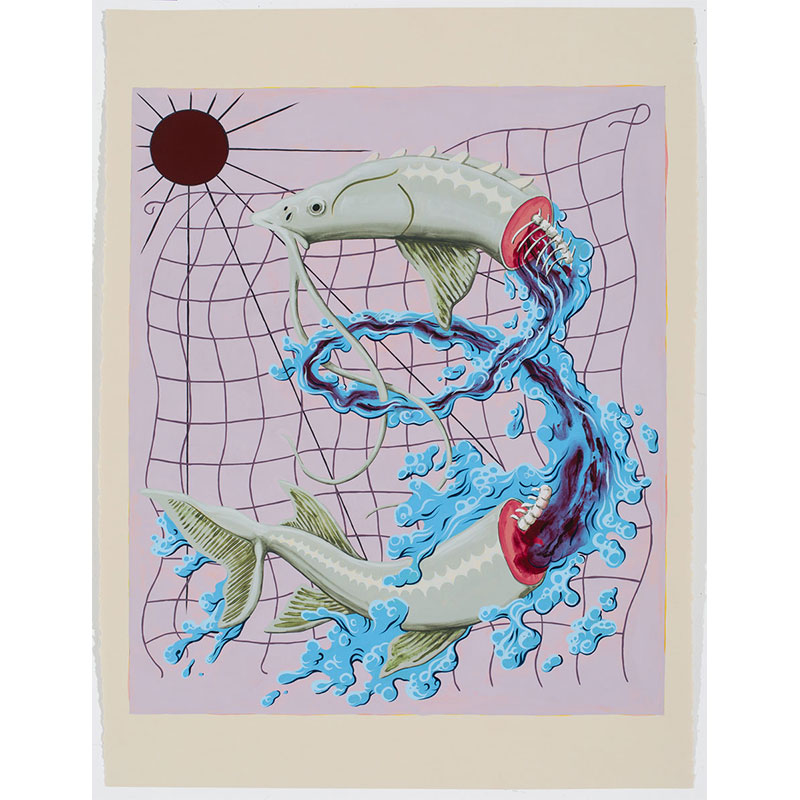 """The Seal of the Hard Harvest , 2016 Flashe on paper 22 x 30"""" paper  Inquire >"""