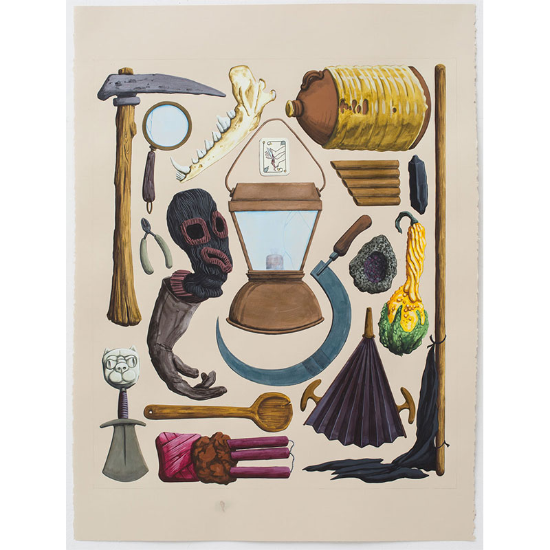 """The Seal of the Tool that Fits the Hand , 2016 Flashe on paper 22 x 30"""" paper  Inquire >"""