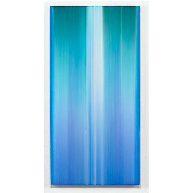 "Pillar , 2017 polymer, pigment on cast acrylic 48 x 24""  Inquire >"