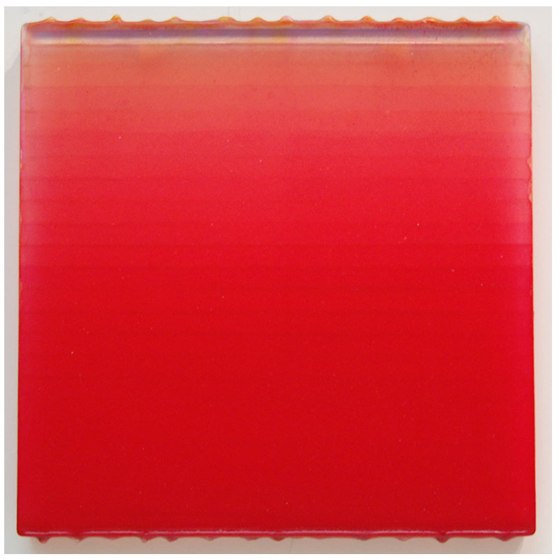 "True Red 07-17 , 2007 polymer and pigment on cast acrylic 10 x 10""  Inquire >"