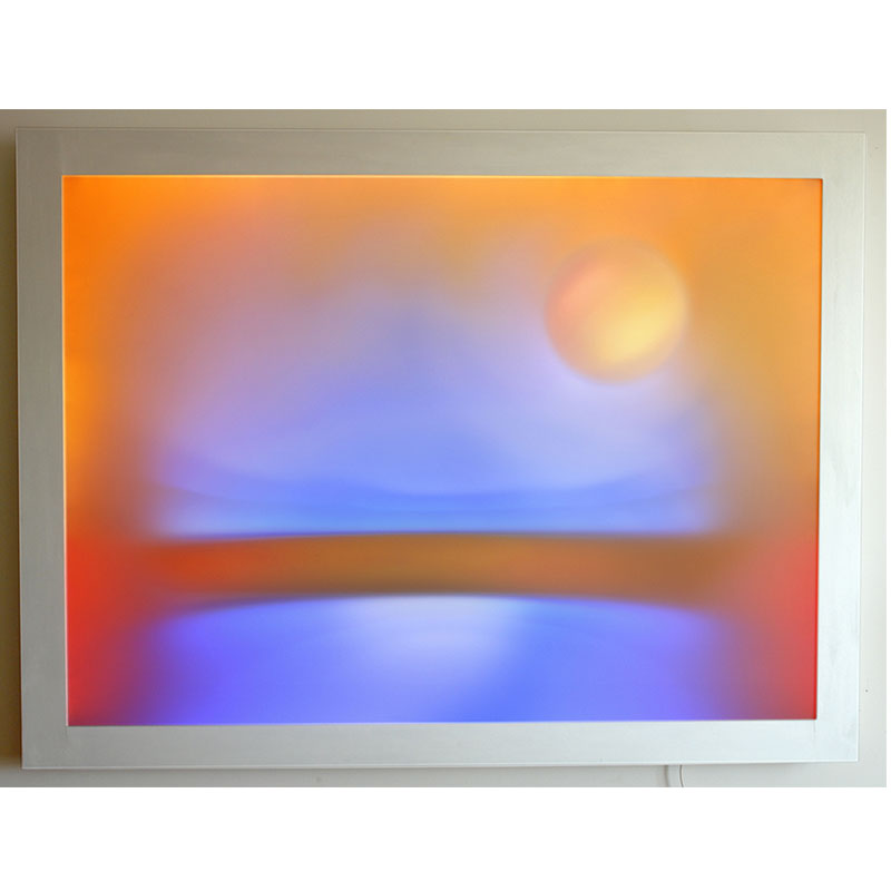 "Study for Pearl Moon , 2008 LED light and acrylic 42.25 x 56.25""  Inquire >"