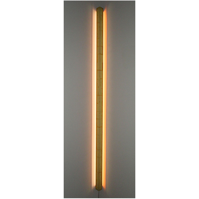 "Softgold Corner , 2014 aluminum, metal leaf and LED lights 75 x 4 x 4""  Inquire >"