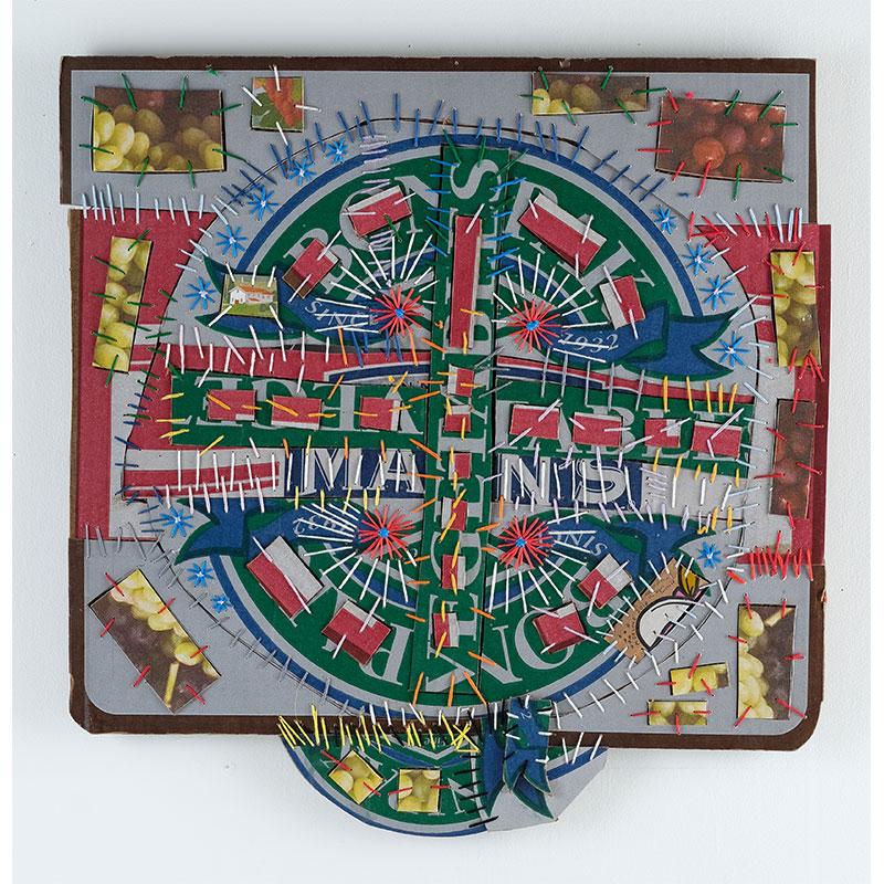 "Mark De Long   Coaster Life , 2018 cotton thread and cardboard 23 x 22""  Inquire >"