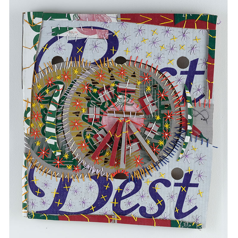 """Mark De Long   The Good, The Bad and the Best , 2017 cotton thread and cardboard 21 x 19""""  Inquire >"""