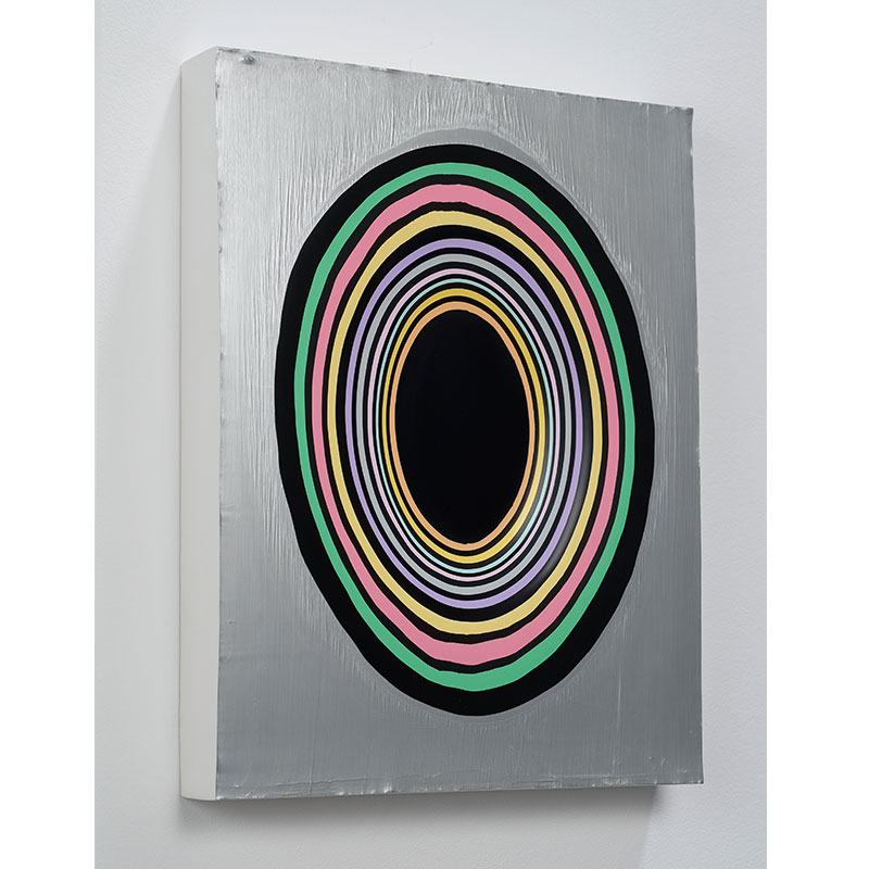 Jeremy Hof   Silver Circles , 2014 acrylic paint 14 x 11 x 1.75  Inquire >