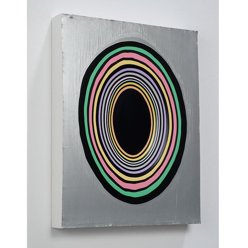 Jeremy Hof   Silver Circles , 2014 acrylic paint 14 x 11 x 1.75  Inquire >