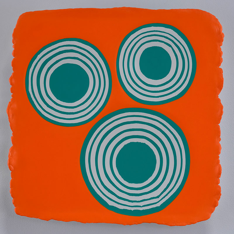 "Jeremy Hof   3 Green Circles on Orange , 2014 acrylic on panel 14 x 14""  Inquire >"