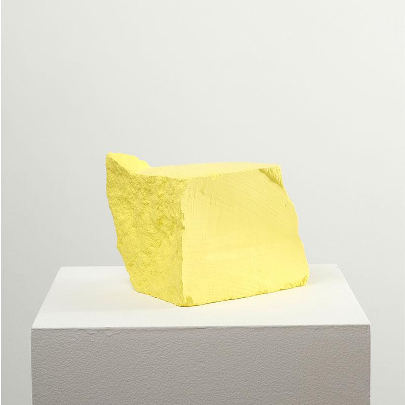 "Jeremy Hof   Yellow #2 , 2016 acrylic paint 6.5 x 5.5 x 5.5""  Inquire >"