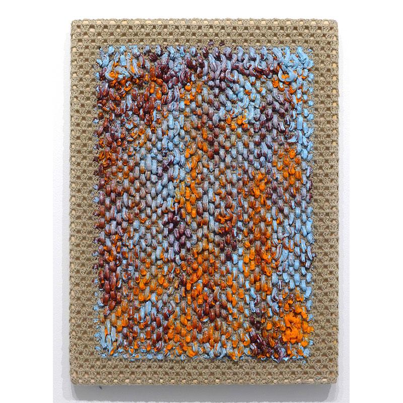 "Angela Teng   Current Mood , 2017 oil through crocheted linen 22 x 16""  Inquire >"
