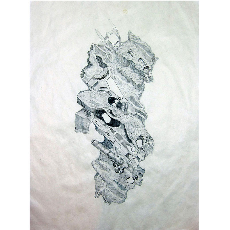 """Howie Tsui   Fossil Mech #1 , 2017 paint pigment and ink on mulberry paper mounted on silk 31.5 x 24.75""""  Inquire >"""