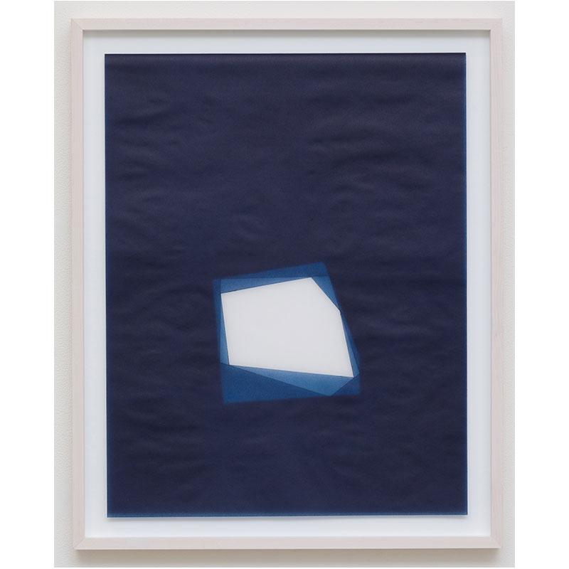 "Julia Mangold   Untitled, 2016-0813 , 2016 indigo pigment in wax on paper 23 x 18"" paper 26.5 x 21.5"" framed  Inquire >"