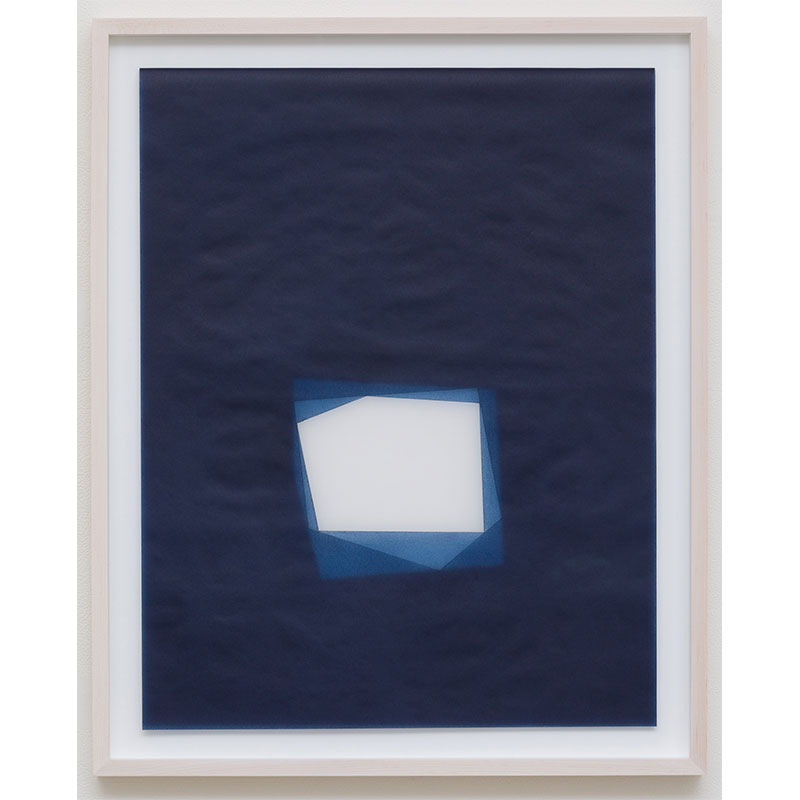 "Julia Mangold   Untitled, 2016-0814 , 2016 indigo pigment in wax on paper 23 x 18"" paper 26.5 x 21.5"" framed  Inquire >"