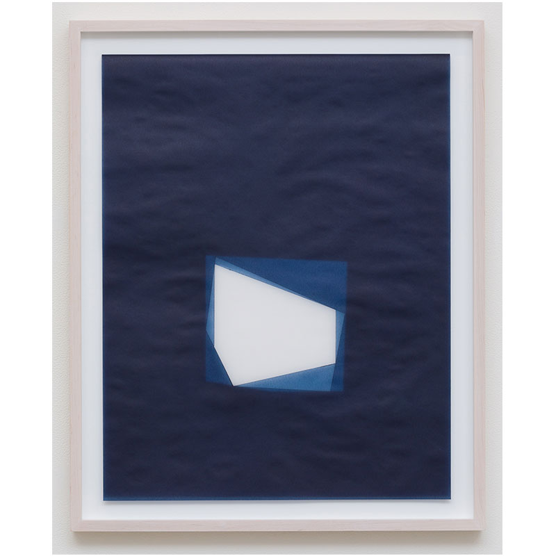 "Julia Mangold   Untitled, 2016-0815 , 2016 indigo pigment in wax on paper 23 x 18"" paper 26.5 x 21.5"" framed  Inquire >"