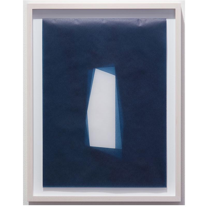 "Julia Mangold   Untitled, 2016-0817 , 2016 indigo pigment in wax on paper 16 x 12"" paper 18.5 x 14.5"" framed  Inquire >"