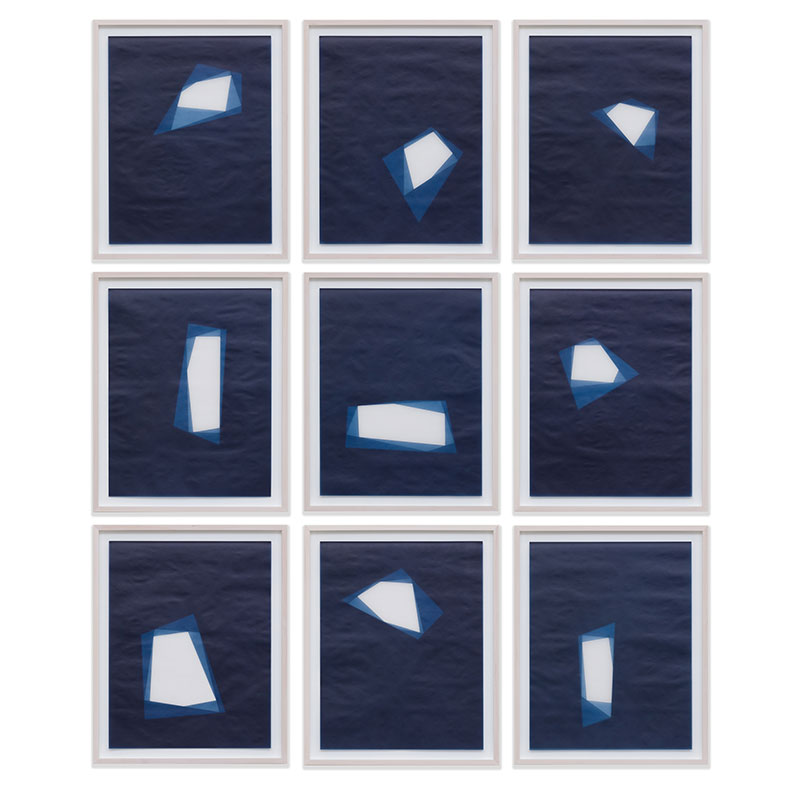 "Julia Mangold   Untitled, 2016-0901/0909 , 2016 suite of 9: indigo pigment in wax on paper 23 x 18"" paper each 26.5 x 21.5"" framed each  Inquire >"