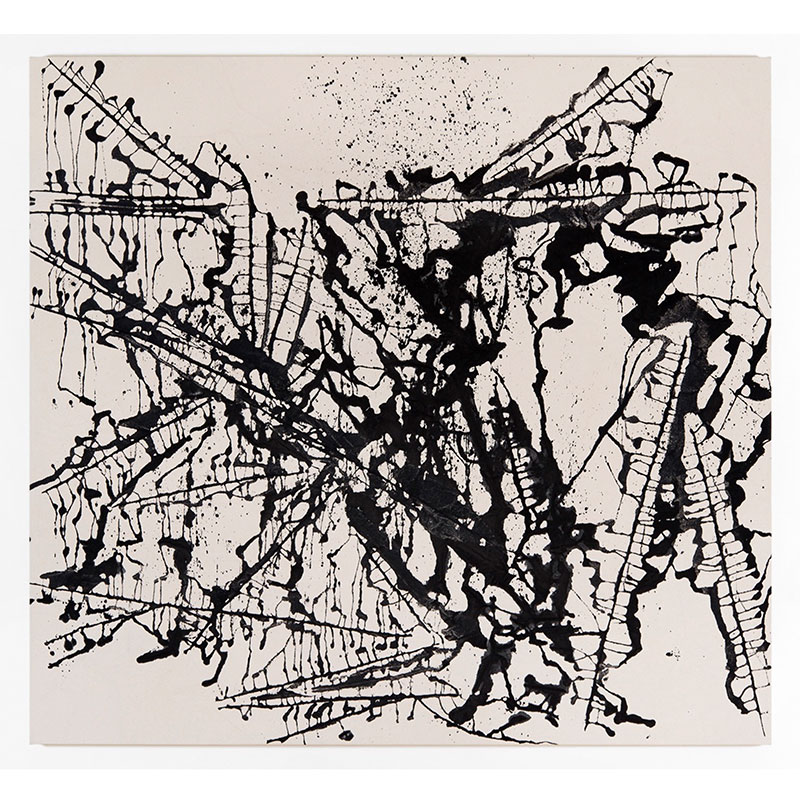 "John David Forsgren   8.20.17 , 2017 India ink on canvas 52 x 56""  Inquire >"